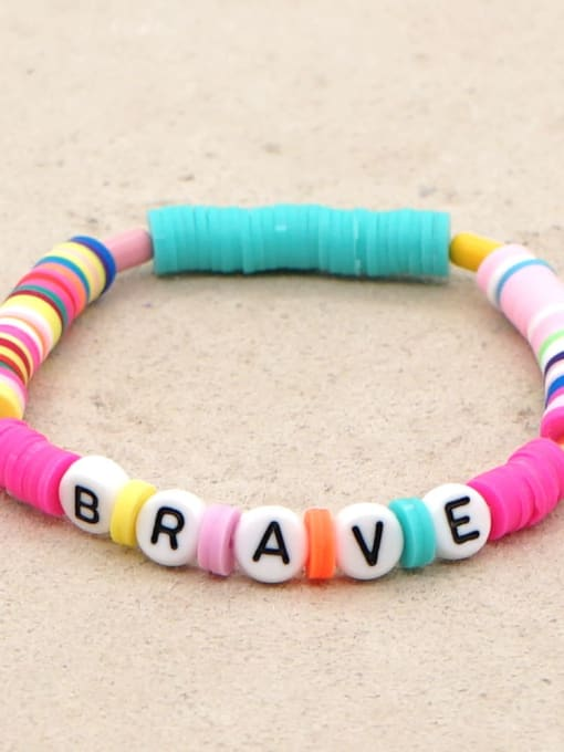 QT B200011S Stainless steel Multi Color Polymer Clay Letter Bohemia Stretch Bracelet