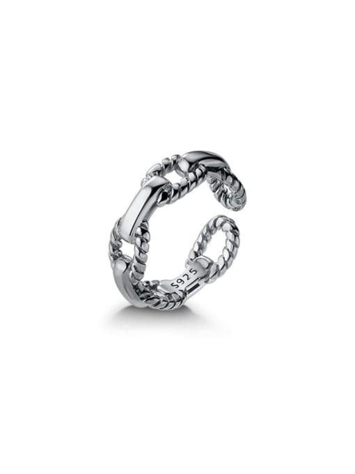Rosh 925 Sterling Silver Hollow Geometric Minimalist Band Ring 4