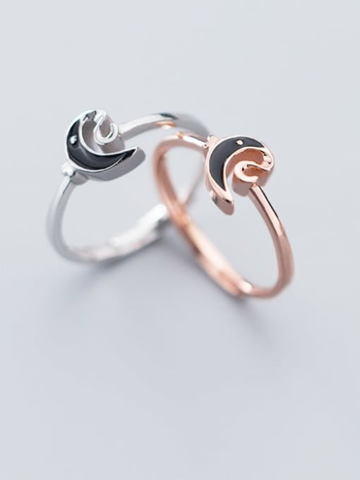 Rosh 925 Sterling Silver Enamel Black Moon Minimalist Band Ring