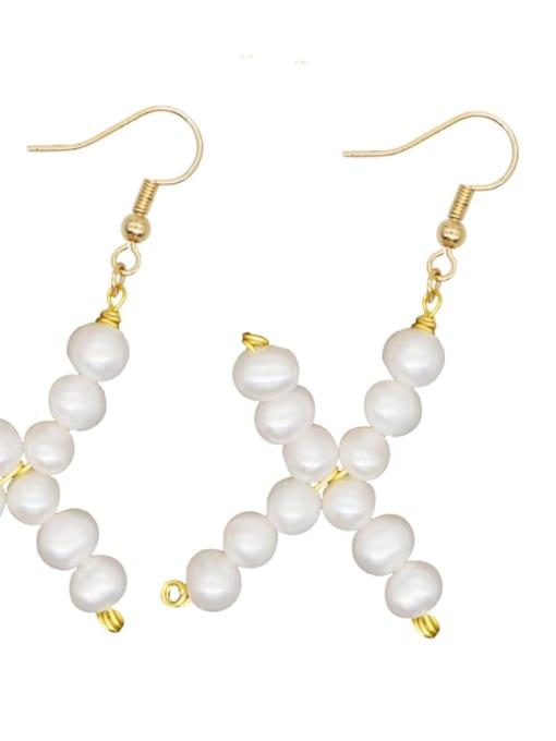 ZZ E200079X Stainless steel Freshwater Pearl Letter Ethnic Drop Earring