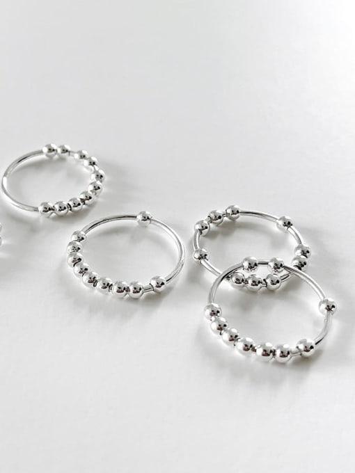 Boomer Cat 925 Sterling Silver Bead Geometric Minimalist Band Ring 0