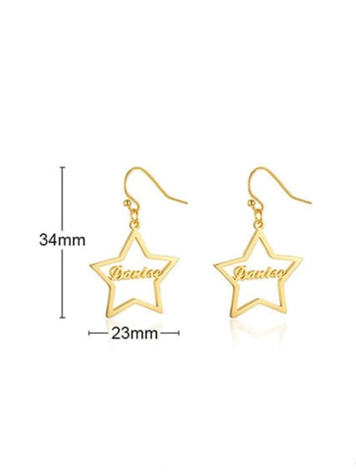 CONG Stainless steel  Hollow Star Minimalist Hook Earring 2