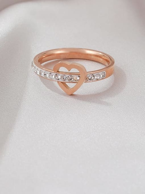 MIYA Titanium Steel Rhinestone Heart Minimalist Band Ring 2