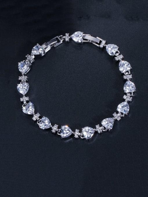 L.WIN Brass Cubic Zirconia Heart Classic Bracelet 0