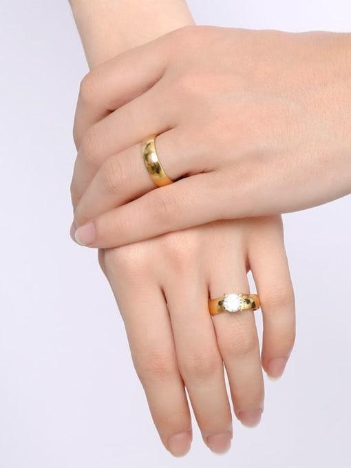 CONG Stainless steel Rhinestone Geometric Minimalist Band Ring 1