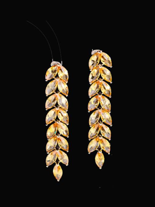 yellow Zirconium Brass Cubic Zirconia Leaf Statement Drop Earring