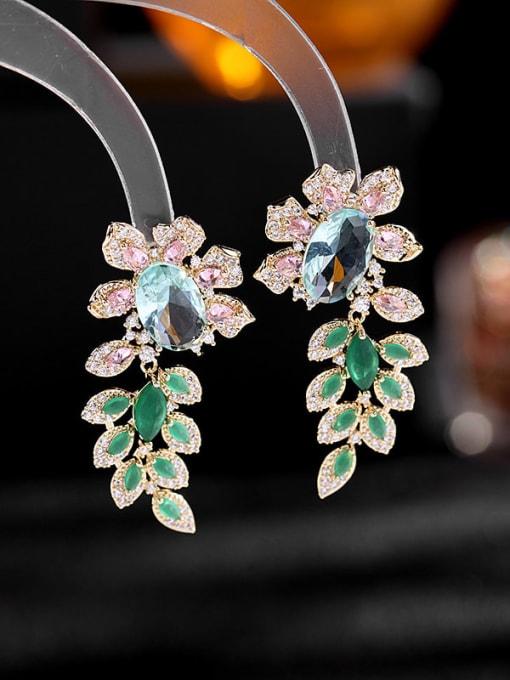 Blue zirconium Brass Cubic Zirconia Flower Luxury Drop Earring