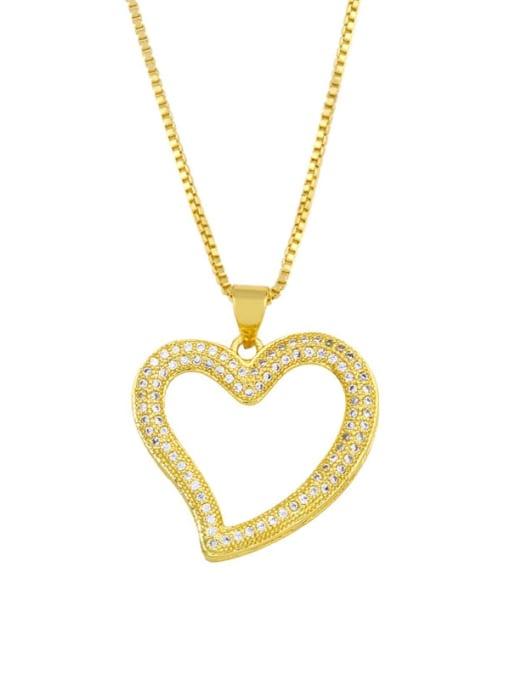 CC Brass Cubic Zirconia Heart Minimalist Necklace 1