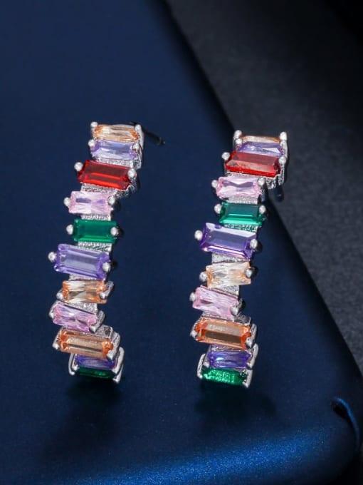 Platinum color Brass Cubic Zirconia Geometric Luxury Stud Earring