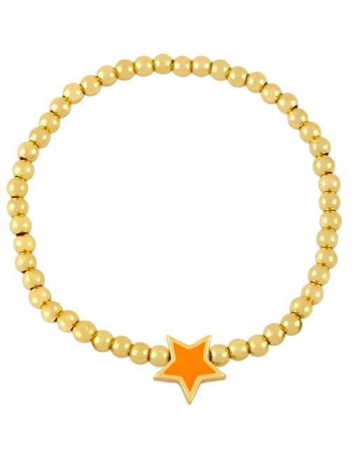 orange Brass Enamel Star Vintage Beaded Bracelet