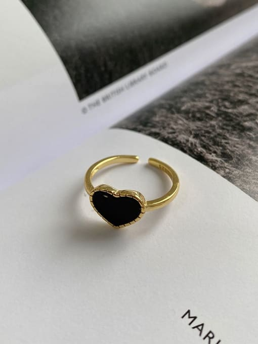 Boomer Cat 925 Sterling Silver Acrylic Heart Minimalist Band Ring 2