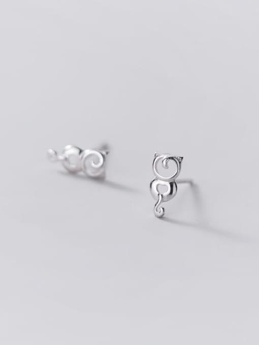 Rosh 925 Sterling Silver hollow Cat Minimalist Stud Earring 4