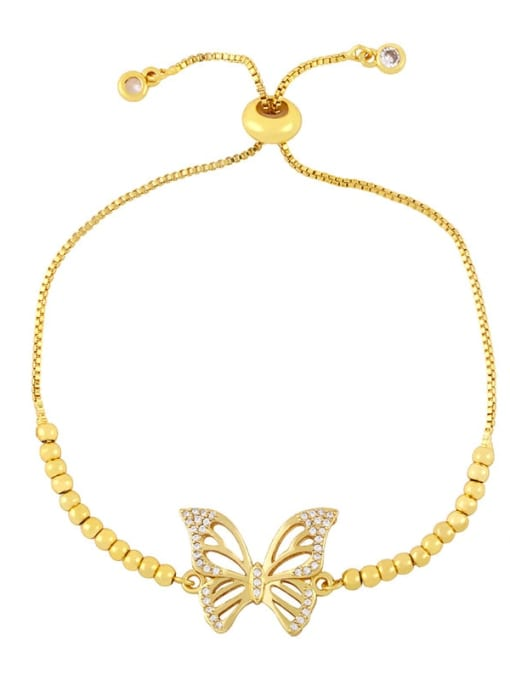 D Brass Cubic Zirconia Butterfly Vintage Adjustable Bracelet