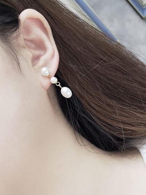 RAIN Brass Freshwater Pearl Water Drop Minimalist Long Drop Earring 1