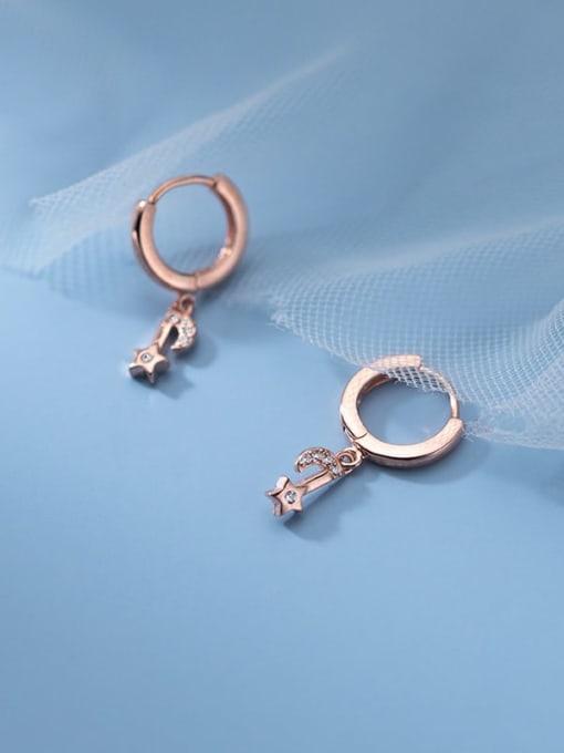 Rosh 925 Sterling Silver Cubic Zirconia Star Minimalist Huggie Earring