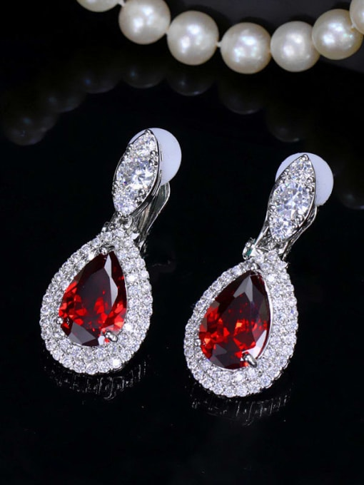 gules Brass Cubic Zirconia Water Drop Luxury Drop Earring