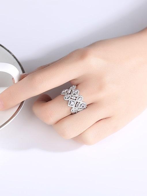 BLING SU Brass Cubic Zirconia Geometric Dainty Band Ring 1