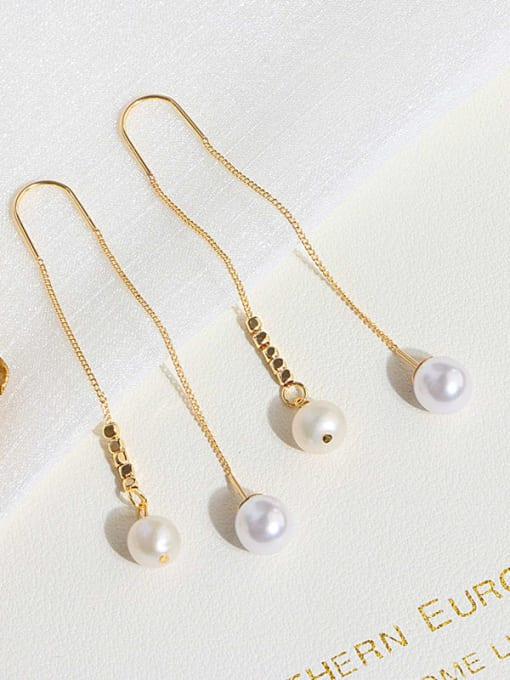 RAIN Brass Freshwater Pearl Tassel Minimalist Threader Earring 3