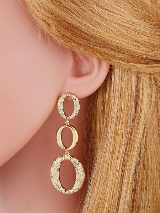 CC Brass Cubic Zirconia Oval Vintage Drop Earring 1