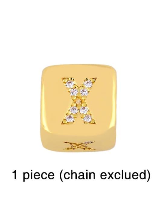 X Brass Cubic Zirconia square Letter Minimalist Adjustable Bracelet