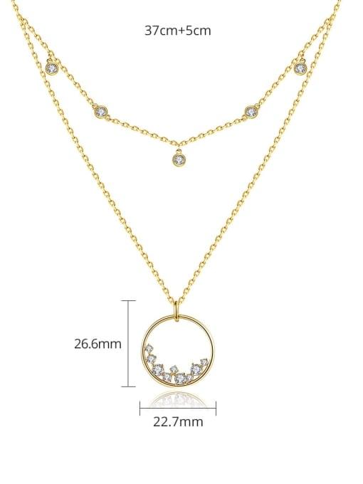 BLING SU Brass Cubic Zirconia Geometric Minimalist Multi Strand Necklace 3