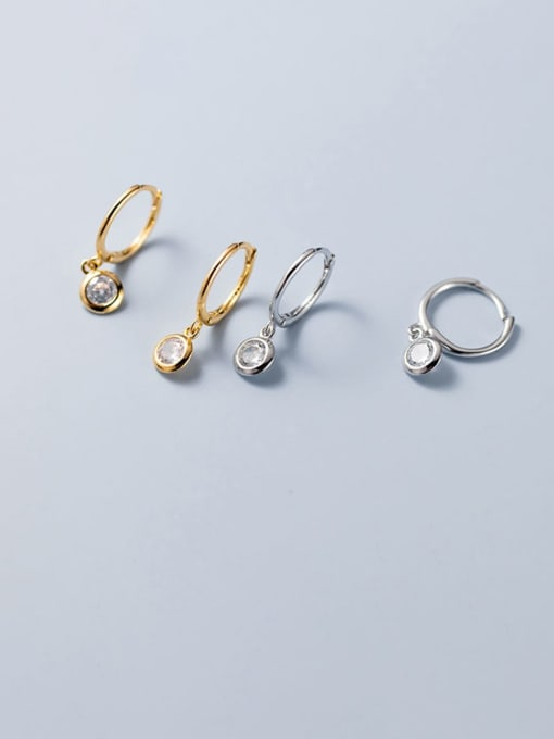 Rosh 925 Sterling Silver Cubic Zirconia Geometric Statement Huggie Earring 2