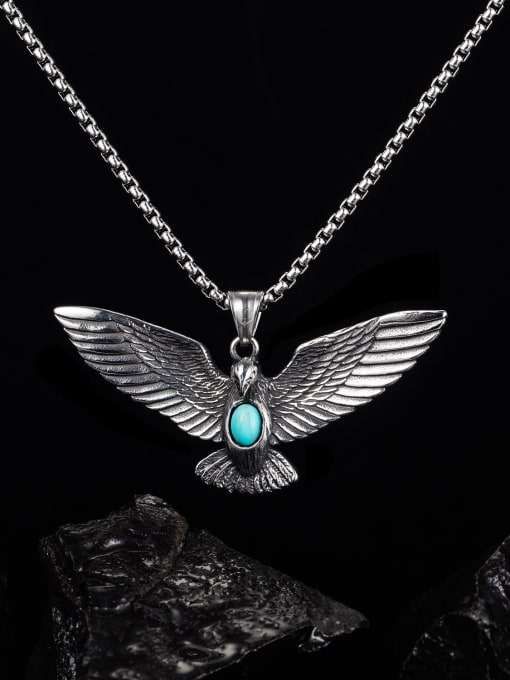 Open Sky Stainless steel Eagle  Turquoise Hip Hop Pendant 1