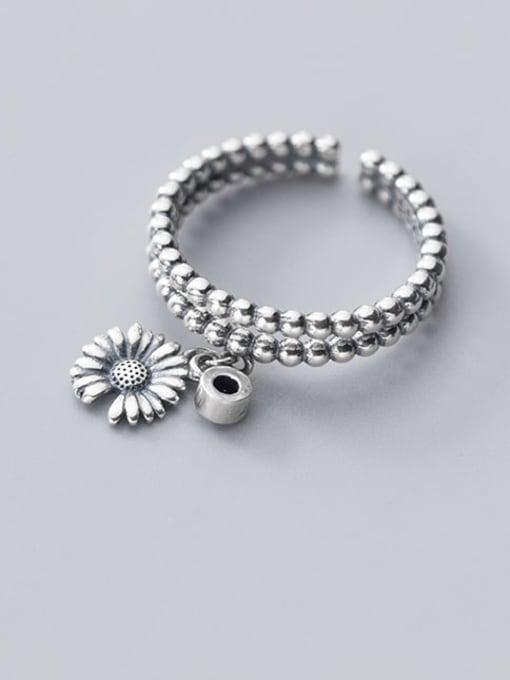 Rosh 925 Sterling Silver Bead Flower Vintage Band Ring 1