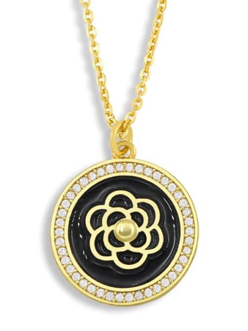 black Brass Cubic Zirconia Enamel Flower Ethnic Necklace