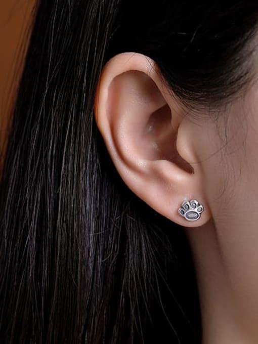 DEER 925 Sterling Silver Irregular Vintage Stud Earring 1