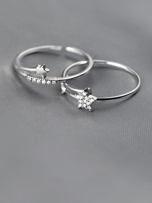 Rosh 925 Sterling Silver Cubic Zirconia Star Minimalist Band Ring 0