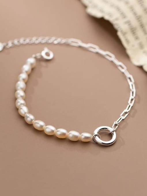 Rosh 925 Sterling Silver Freshwater Pearl Asymmetry Geometric Chain Minimalist Link Bracelet 2