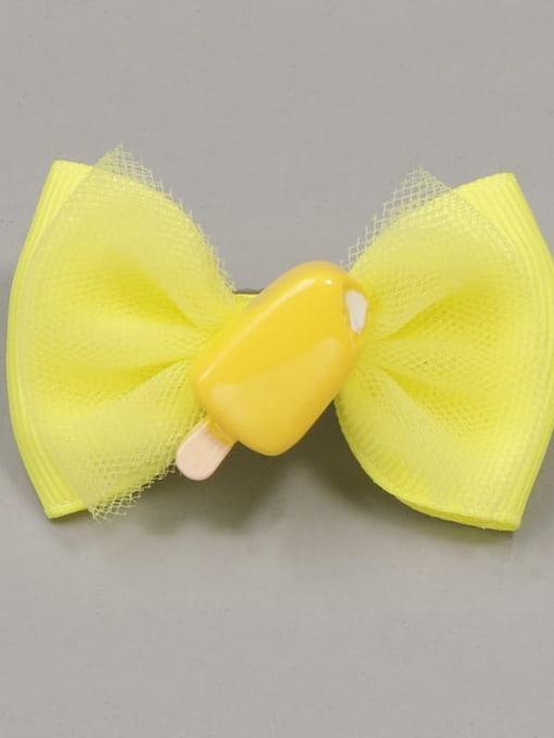 Lemon yellow ice cream Alloy Yarn Cute Bowknot  Multi Color Hair Barrette