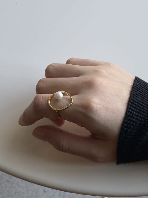 Boomer Cat 925 Sterling Silver Imitation Pearl Round Minimalist Band Ring 3