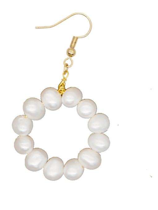 ZZ E200079O Stainless steel Freshwater Pearl Letter Ethnic Drop Earring