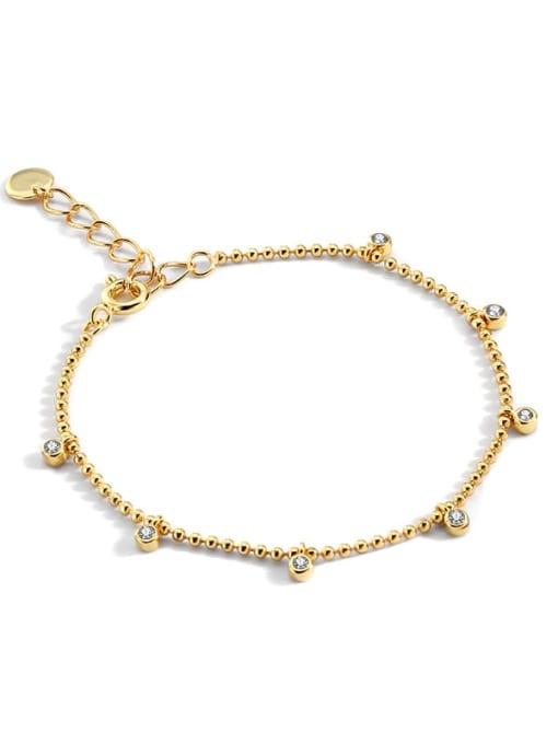 golden Brass Bead Geometric Minimalist Beaded Bracelet