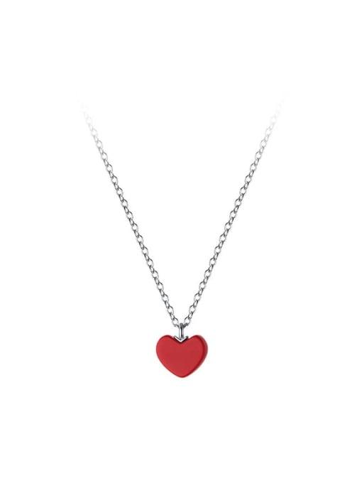 Rosh 925 Sterling Silver Enamel Heart Minimalist Necklace 3
