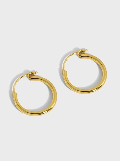 DAKA 925 Sterling Silver Smooth Round Minimalist Hoop Earring