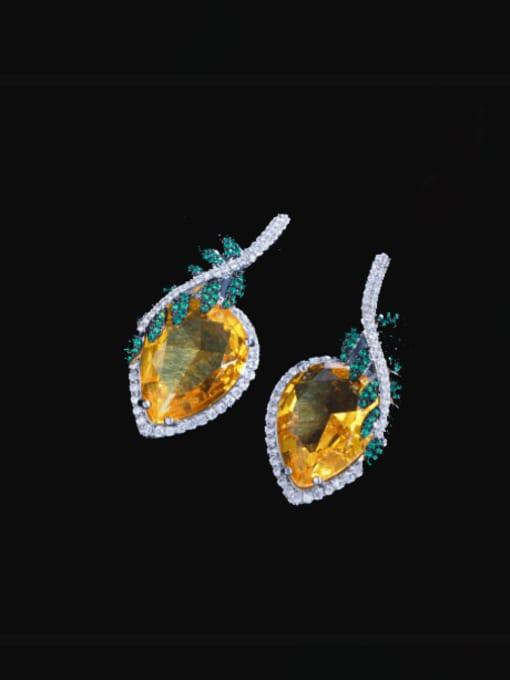 L.WIN Brass Cubic Zirconia Leaf Luxury Stud Earring 2