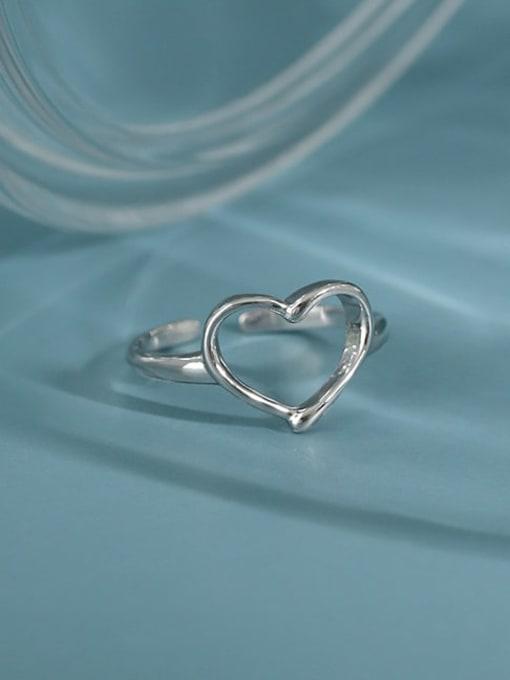 Dak Phoenix 925 Sterling Silver Hollow Heart Minimalist Band Ring 1