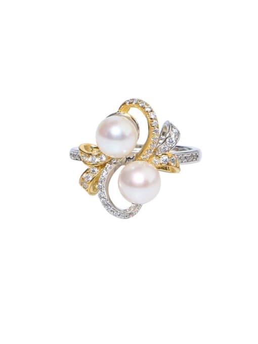 RAIN Brass Freshwater Pearl Flower Luxury Band Ring 0