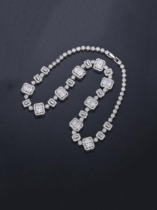 BLING SU Brass Cubic Zirconia Geometric Dainty Necklace 3