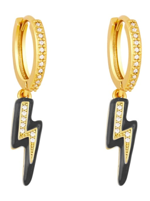 black Brass Enamel Irregular Cute Huggie Earring