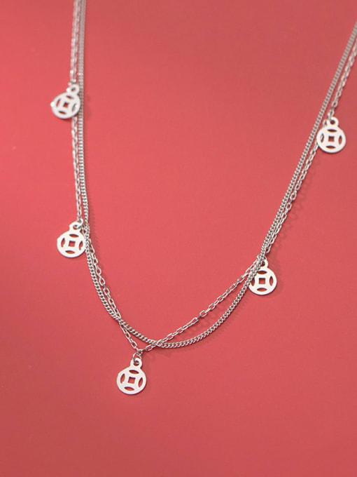 Rosh 925 Sterling Silver Coin Vintage Multi Strand Necklace