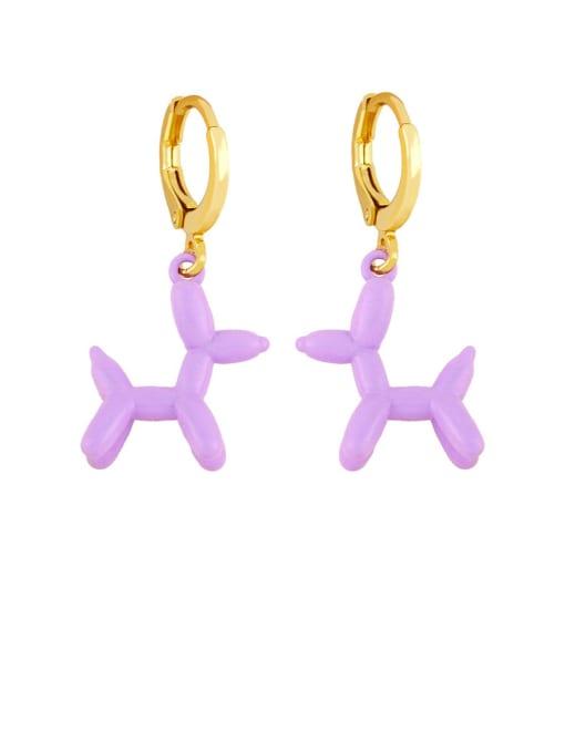purple Brass Enamel Dog Cute Huggie Earring