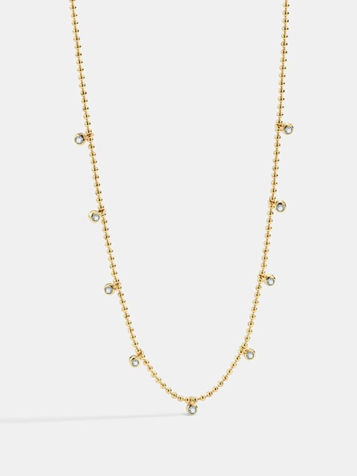 CHARME Brass Bead Geometric Minimalist Beaded Necklace 4