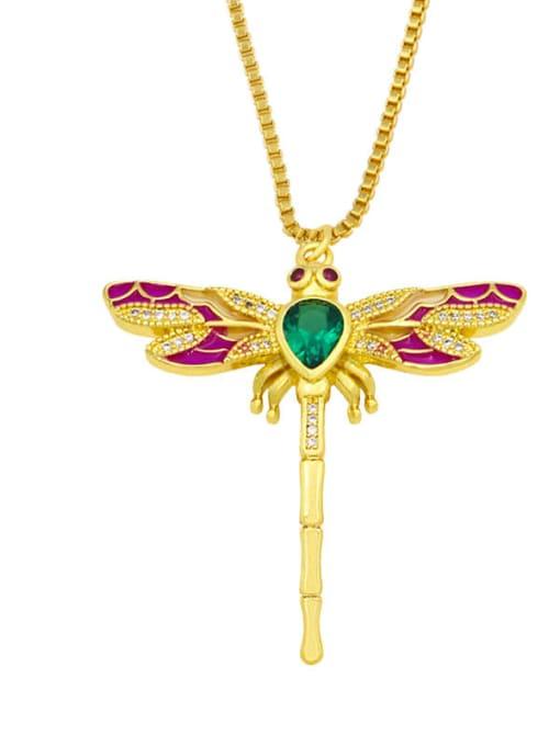 A Brass Cubic Zirconia Enamel Butterfly Cute Necklace