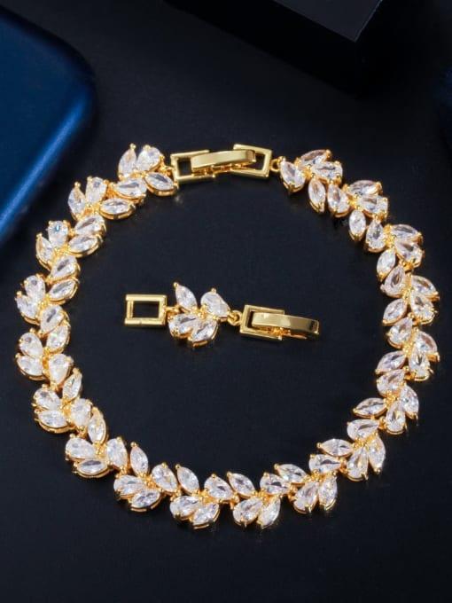 gold Brass Cubic Zirconia Leaf Luxury Bracelet