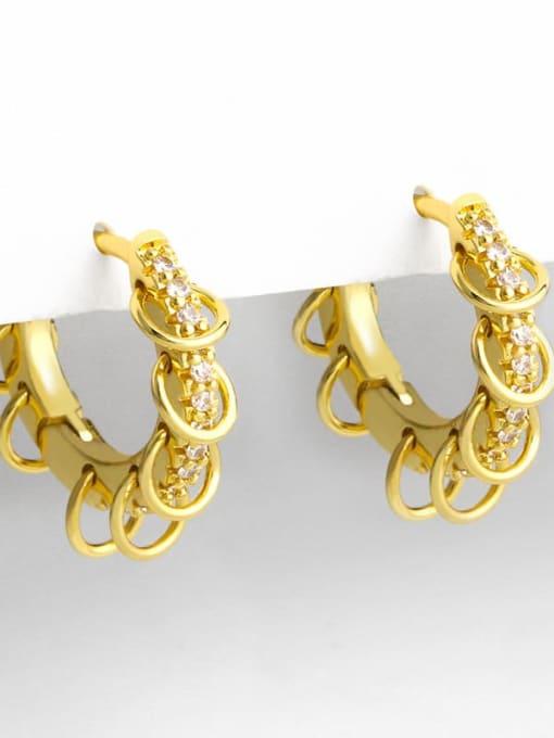 CC Brass Cubic Zirconia Geometric Hip Hop Huggie Earring 2