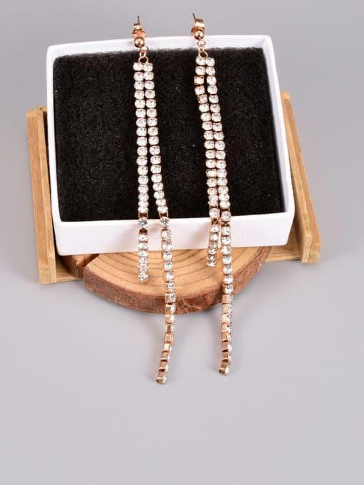 A TEEM Titanium Steel Cubic Zirconia Tassel Minimalist Drop Earring 2